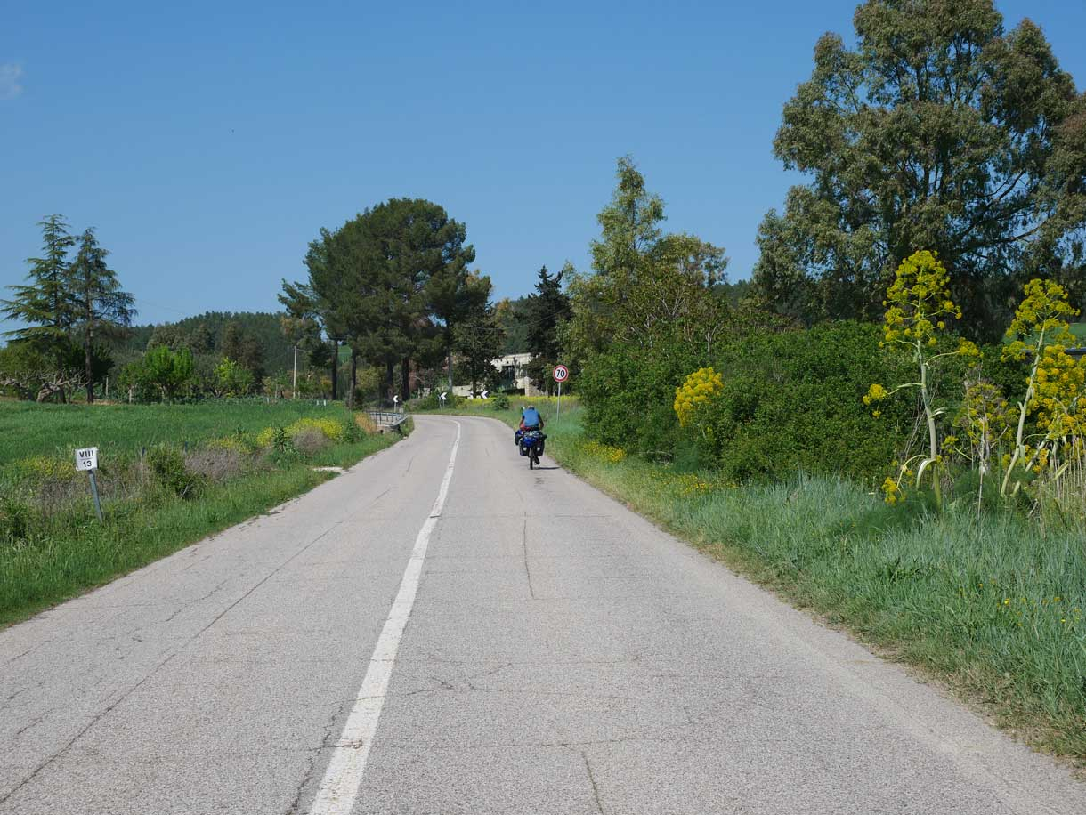 Klaus leving us during his cycling tour accross the Appian Way