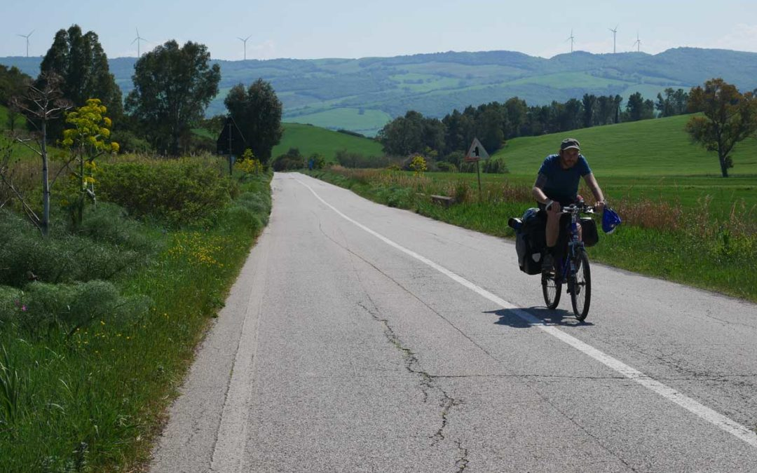 Klaus cycling accross the Appian Way