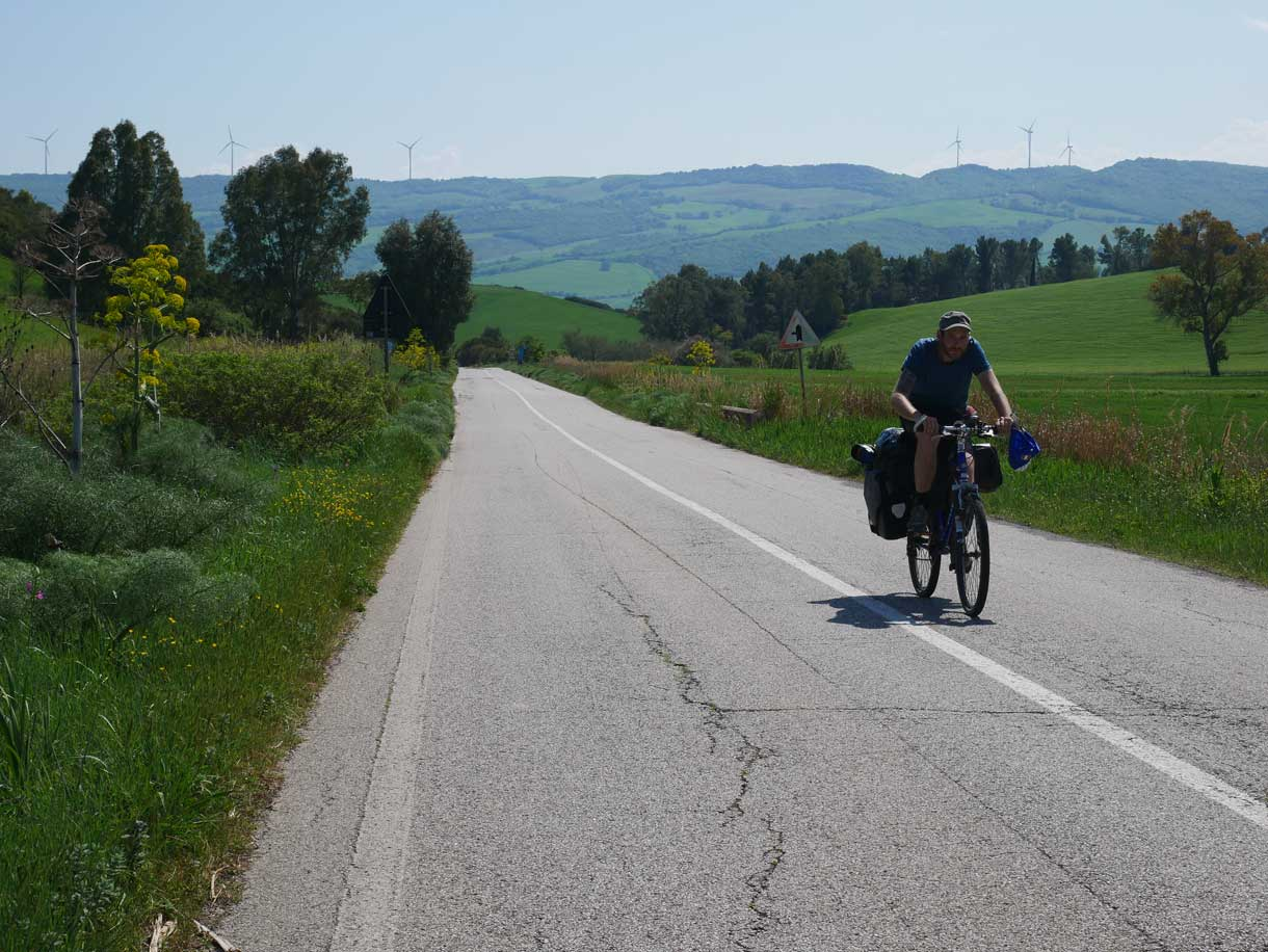 Klaus cycling the Appian Way to reach Matera