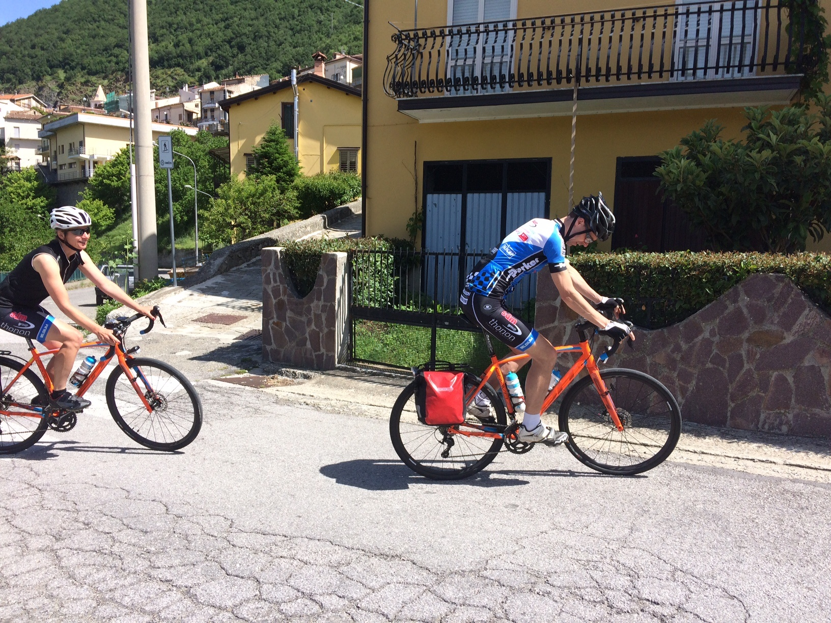Jan cycling on a street of Terranova del Pollino