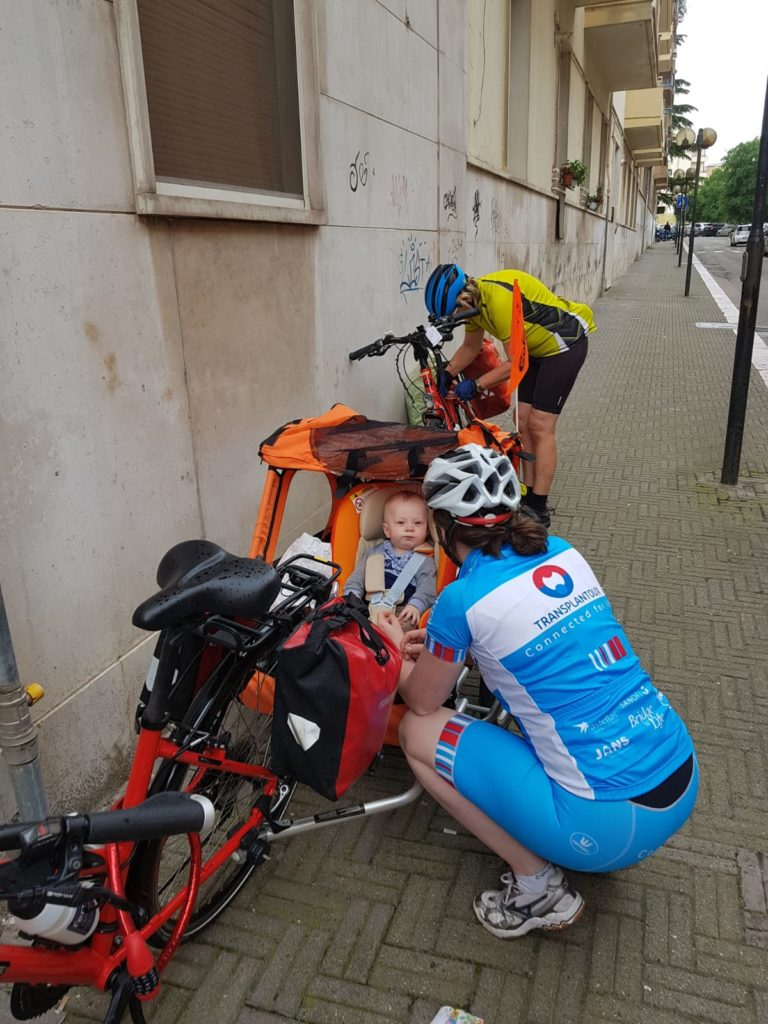 The family of Jacob getting ready to leave Matera for the cycling toura across Basilicata.