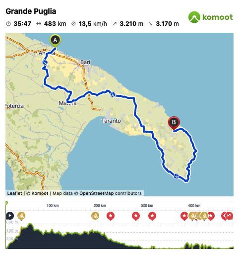 Grande Puglia 13 Days Cycling Tour Map